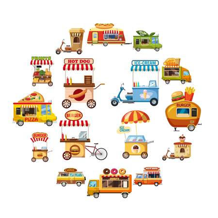 Street food kiosk icons set. Cartoon illustration of 16 street food kiosk vector icons for web