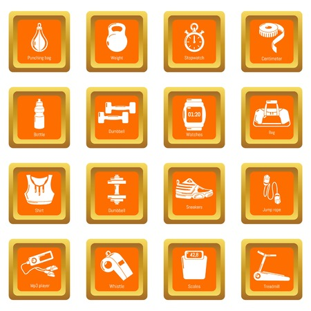 Gym sport icons set vector orange square isolated on white background