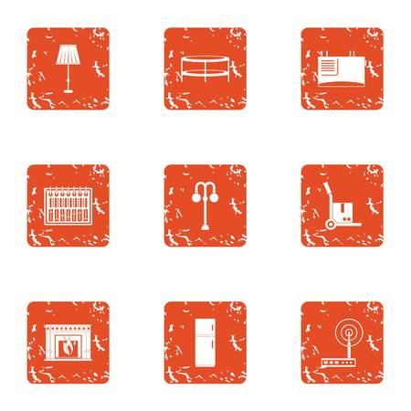 Home library icons set. Grunge set of 9 home library vector icons for web isolated on white background