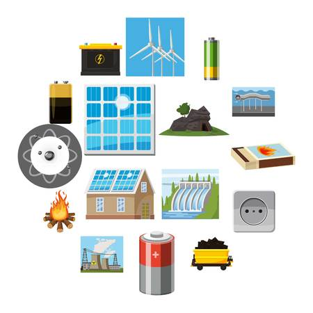 Energy sources icons set. Cartoon illustration of 16 energy sources vector icons for web Stock Illustratie