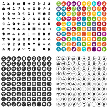 100 human rights icons set vector in 4 variant for any web design isolated on white