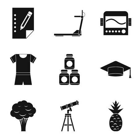 Beneficial properties icons set. Simple set of 9 beneficial properties vector icons for web isolated on white background Ilustração