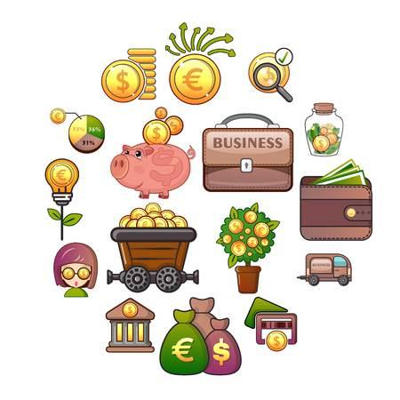 Business icons set. Cartoon illustration of 16 business vector icons for web Illustration