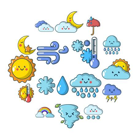 Weater icons set. Cartoon illustration of 16 weater vector icons for web 写真素材 - 100294865