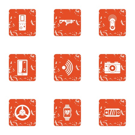 Cyber weapon icons set. Grunge set of 9 cyber weapon vector icons for web isolated on white background
