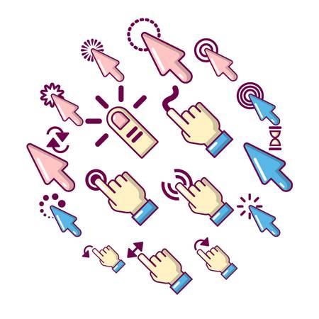 Hand click icons set. Cartoon illustration of 16 hand click vector icons for web Illustration