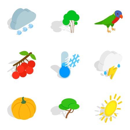 Wildlife icons set. Isometric set of 9 wildlife vector icons for web isolated on white background