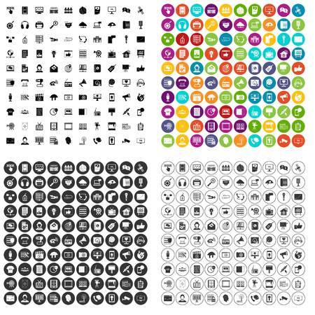 100 information technology icons set vector in 4 variant for any web design isolated on white