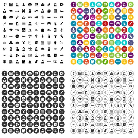 100 initiation icons set vector in 4 variant for any web design isolated on white