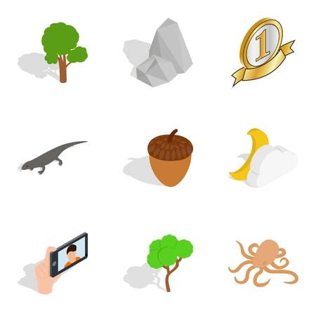 Nature preserve icons set. Isometric set of 9 nature preserve vector icons for web isolated on white background