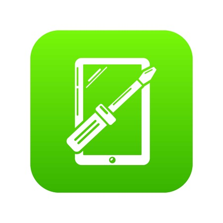 Tablet repairicon green vector isolated on white background