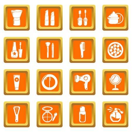Cosmetics icons set vector orange square isolated on white background