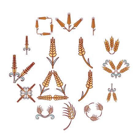 Ear corn icons set. Cartoon illustration of 16 ear corn vector icons for web