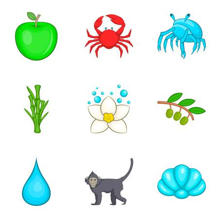 Primordial icons set. Cartoon set of 9 primordial vector icons for web isolated on white background