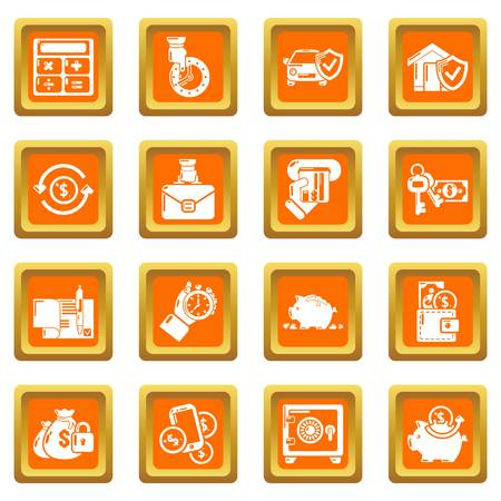 Credit icons set vector orange square isolated on white background