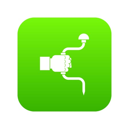 Vintage hand drill in man hand icon digital green for any design isolated on white vector illustration Illustration