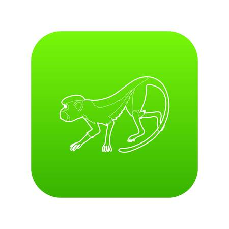 Going forward monkey icon green vector isolated on white background
