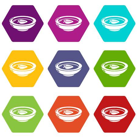 Soy sauce plate icons 9 set coloful isolated on white for web