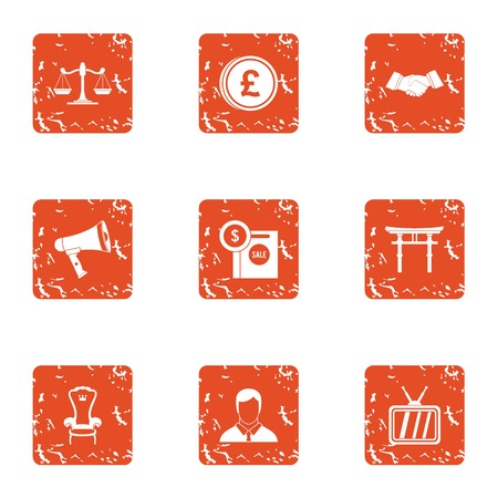 Influential person icons set. Grunge set of 9 influential person vector icons for web isolated on white background