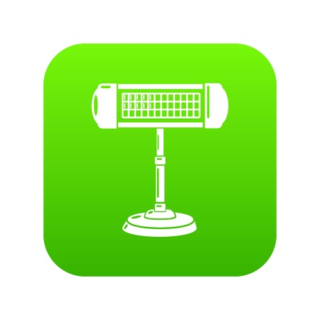 Ufo heater icon green vector isolated on white background