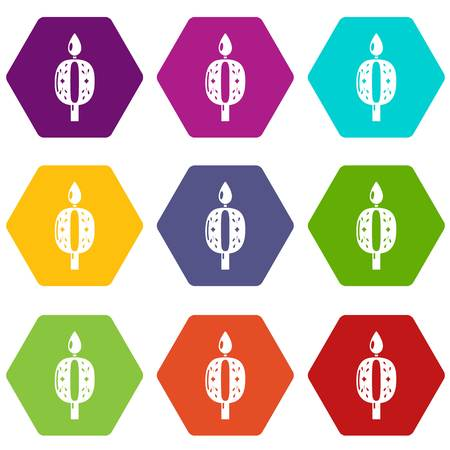 Candle numbering icons 9 set coloful isolated on white for web
