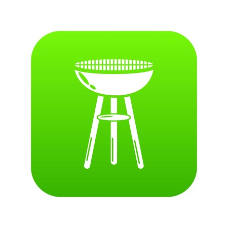 Barbecue icon green vector isolated on white background
