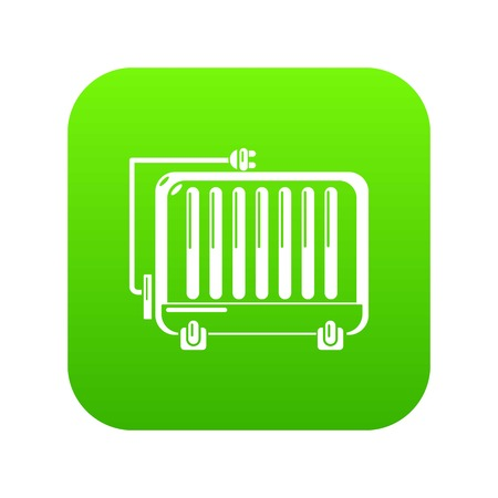 Electric battery icon green vector isolated on white background