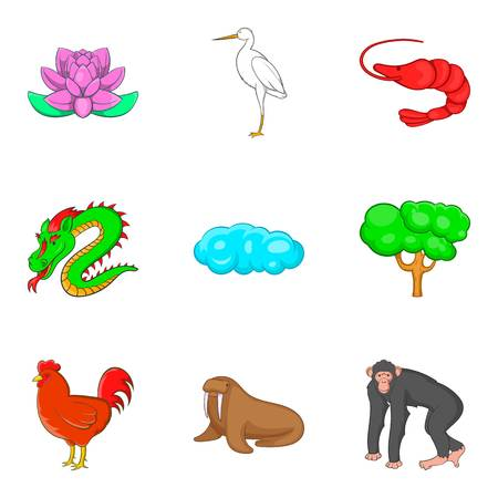 Life in wood icons set. Cartoon set of 9 life in wood vector icons for web isolated on white background
