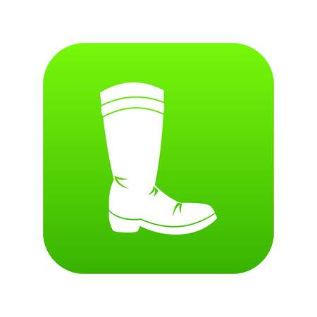 Cowboy boot icon digital green for any design isolated on white vector illustration Illustration
