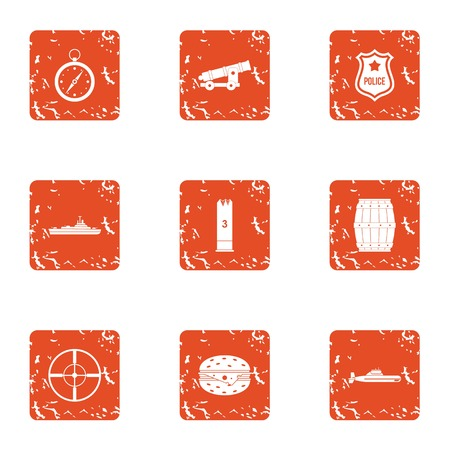 Weapon aim icons set. Grunge set of 9 weapon aim vector icons for web isolated on white background