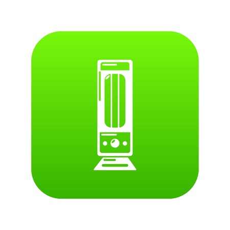 Oil heater icon green vector isolated on white background