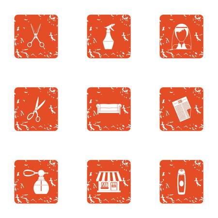 Stylist place icons set. Grunge set of 9 stylist place vector icons for web isolated on white background