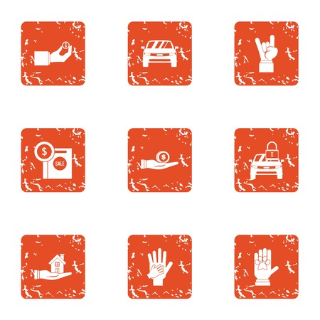 Indoor icons set. Grunge set of 9 indoor vector icons for web isolated on white background  イラスト・ベクター素材