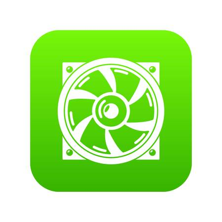 Thermal fan icon green vector isolated on white background Ilustração