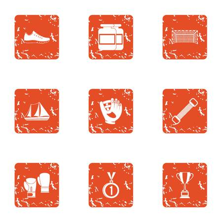 Sport indoor icons set. Grunge set of 9 sport indoor vector icons for web isolated on white background Illusztráció