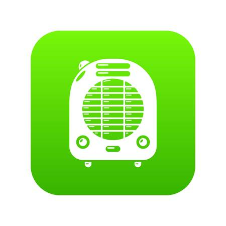 Heat-blower icon green vector isolated on white background