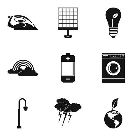 Wind turbine icons set. Simple set of 9 wind turbine vector icons for web isolated on white background