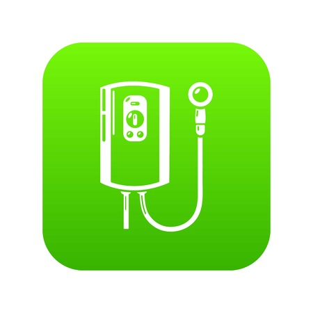 Boiler icon green vector isolated on white background