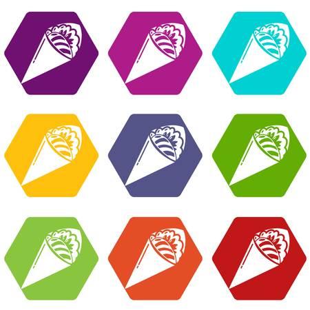 Sushi restaurant icons 9 set coloful isolated on white for web