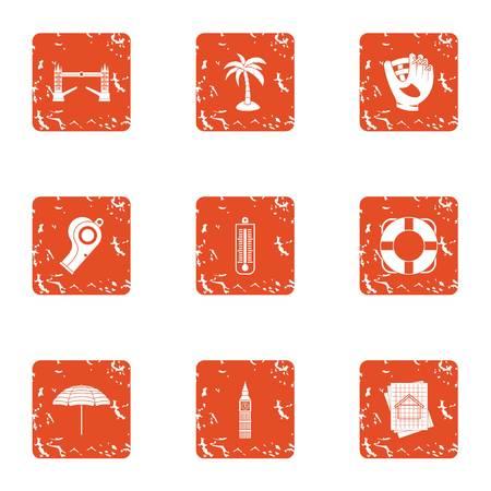 Travel binge icons set. Grunge set of 9 travel binge vector icons for web isolated on white background Çizim