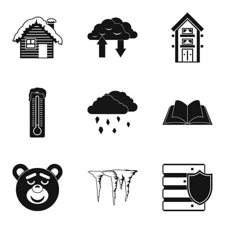 Warm house icons set. Simple set of 9 warm house vector icons for web isolated on white background