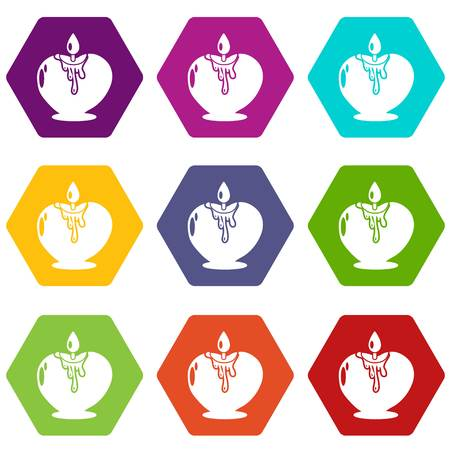 Candle romance icons 9 set coloful isolated on white for web