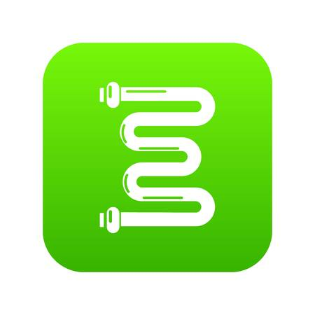 Coil battery icon green vector isolated on white background.