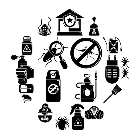 Pest control tools icons set. Simple illustration of 16 pest control tools, vector icons for web. insects and insect repellent icons Vettoriali