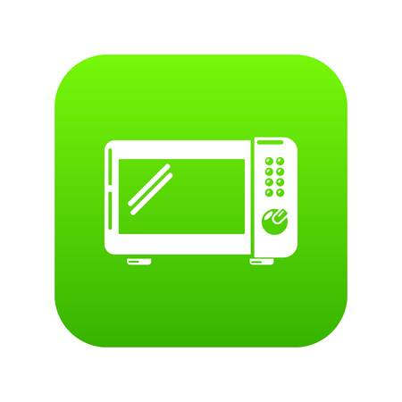 Microwave oven icon green vector isolated on white background. Illustration