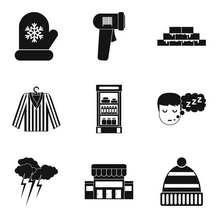 Warm hut icons set. Simple set of 9 warm hut vector icons for web isolated on white background