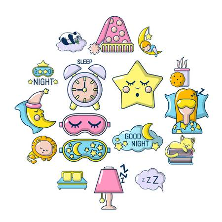 Sleeping icons set. Cartoon illustration of 16 sleeping vector icons for web