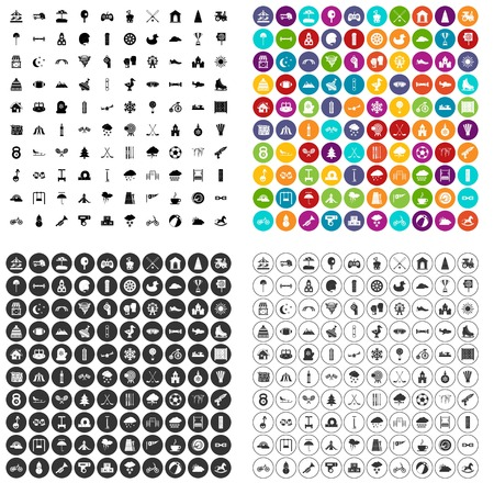100 kids games icons set vector in 4 variant for any web design isolated on white