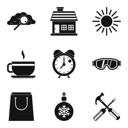 Warm atmosphere icons set. Simple set of 9 warm atmosphere vector icons for web isolated on white background. Cloud, house, sun, cup of coffee and clock icons.