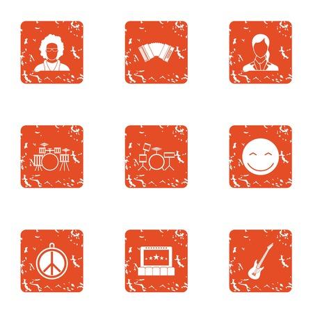 Hippy band icons set. Grunge set of 9 hippy band vector icons for web isolated on white background Illustration